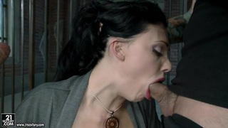 Hot Aletta Ocean alternately pleasing two cocks with her simmering mouth Preview Image