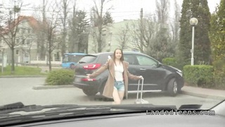 Teen hitchhiker sucks and fucks in a car Preview Image