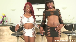 black bubblebutt babes facialized in threesome Preview Image