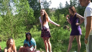 Albina & Ava & Taylor & Zoe in cute college girls making an outdoor party Preview Image