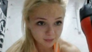 Blonde sexy teen makes hot exercises at gym Preview Image