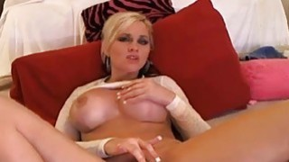 Big Boobs Blonde Babe Fingering_Her Tight Pussy on Preview Image