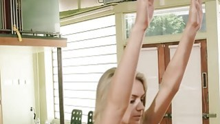 Blondie trainer teaches two sexy babes some yoga exercise Preview Image