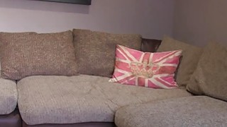 Hot Scottish girl Ashley takes a big facial on casting couch Preview Image
