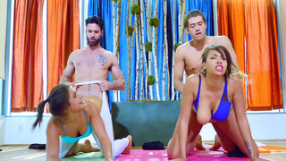 Abella Danger and Cassidy Banks getting fucked by two yoga instructors Preview Image