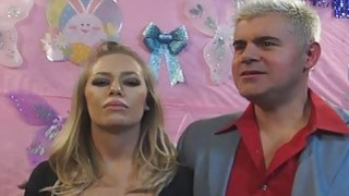 Big titty blonde pornstar Nicole Anniston and pornstar friends blow a college boy fan Preview Image