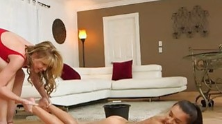 Big tits MILF Desi and sweet teen Kharlie make out on sofa Preview Image