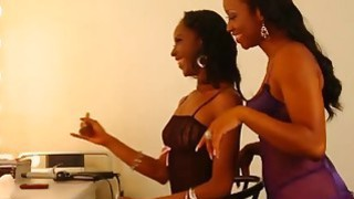 Young Black Lesbians Lick And_Finger Pussies_In Dressing Room Preview Image