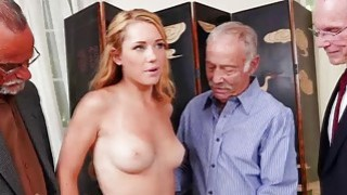 Raylin Ann swallows three old cocks on her knees Preview Image