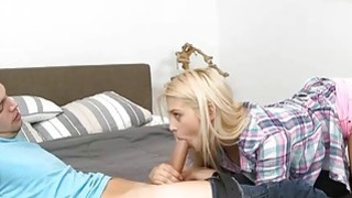 Stepmom shared a hard cock with teen bitch on the bed Preview Image