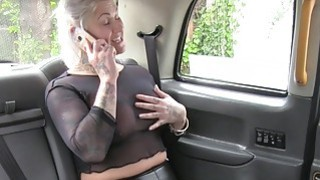 Blonde in see through shirt in fake taxi Preview Image