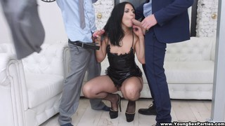 Young courtesan_gets a rough DP by two businessmen Preview Image