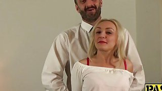 Sexy blonde mature deepthroats and gets fucked by a fat cock Preview Image
