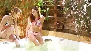 Skinny lesbians Ariana Marie and Dakota Skye is inside the tub licking pussies Preview Image