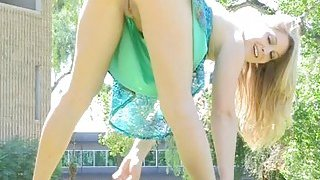 Babe caresses juicy bawdy_cleft Preview Image