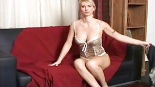 Spy cam recorded astonishing blond chick masturbation with a dildo in her living room Preview Image