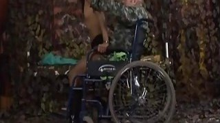 Old guy in wheelchair licks and fingers shaved pussy Preview Image