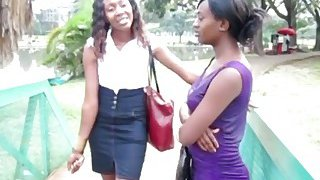 Two sexy ebony chicks decide to have a lesbian adventure in a public toilet Preview Image