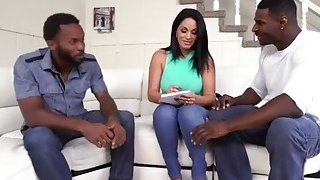 Huge ass MILF bends over and gets fucked by two black studs Preview Image
