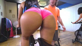 Rose Monroe shows her butt while riding the exercise bike Preview Image