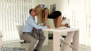 Office slut Angel Piaff gives her employee a raise in his pants Preview Image
