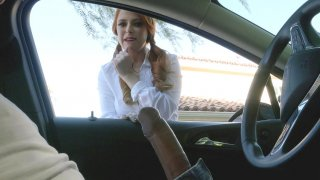 Waitress Penny Pax sucking Keiran in the car Preview Image