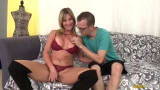 Shameless Mature Woman Sky Haven Bangs a Skinny Dude Until He Pops Preview Image