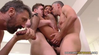 Ebony slut September Reign gets gangbanged by horny white guys Preview Image