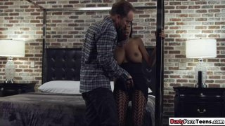 Busty ebony teases white guy to fuck her Preview Image