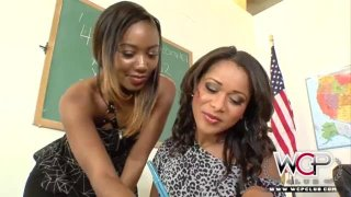 Hot black dyke and_her teacher have sex in_classroom Preview Image