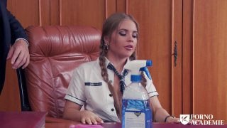 Sexy blonde schoolgirl Jane hammered and_sprayed in principals office Preview Image