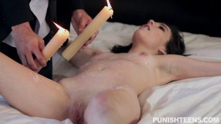 Bound slut gets poured with candle wax and sucks dick Preview Image