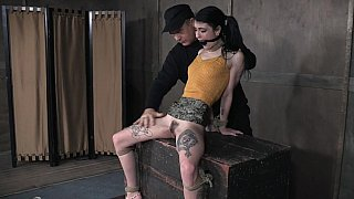 Tied-up slave tortured with a vibrator Preview Image