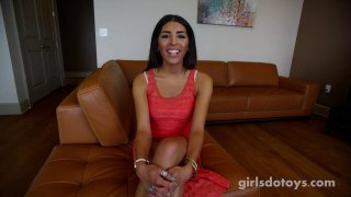 Pretty lady with natural tits toys her pussy solo casting Preview Image