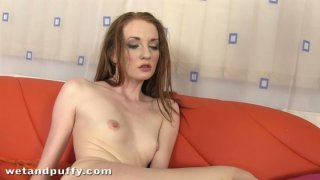 Naked teen Ginger masturbates with purple toy Preview Image