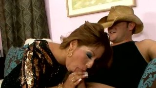 Dirty Latino whore gives blowjob to a cool cowboy Preview Image