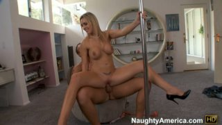 Pole dancer Tanya Tate is jumping on a cock and wants to swallow the balls Preview Image