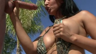 Exotic slut Isis Love in sexy bikini blows tourist's cock Preview Image
