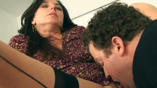Sexy hot milf Karen Kougar in stockings giving a blowjob_and fucks Preview Image