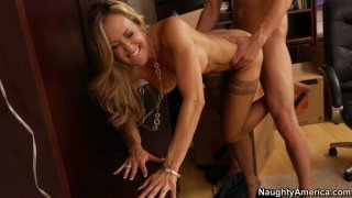 Stunning blonde in stockings Brandi Love gives away her cunt for experimentations Preview Image