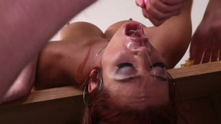 Blowjob transforms into cock sucking with red head Mia Lelani Preview Image