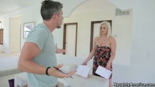 Pale skin slut Dayna Vendetta gives a head and_rubs the cock between her twins Preview Image