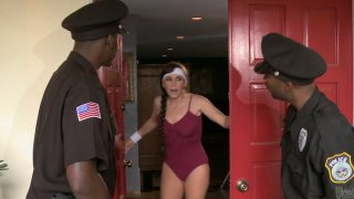 Two policemen bang slutty cougar Alexandra Silk at her place Preview Image