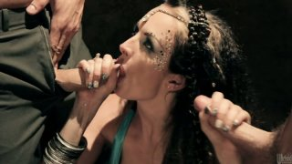 Slutty bellydancer Alektra Blue chokes on a cock while another man eats her asshle and pussy Preview Image