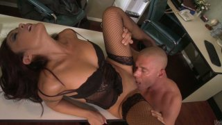 Sluttish secretary Kaylani Lei gives a head and gets her tight pussy licked in the office Preview Image