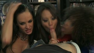 Triple blowjob by Alektra Blue, Asa Akira and Misty Stone Preview Image