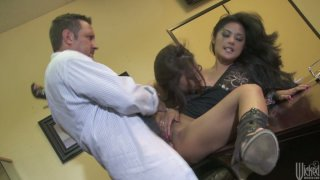 Two horny brunettes Kaylani Lei & Chanel Preston please the doctor's cock Preview Image