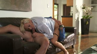 Horny chick Skyler Price pleases a strong cock in the sitting room Preview Image
