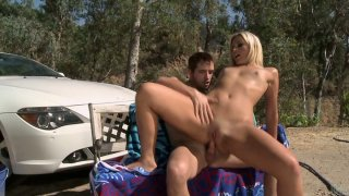 Blond head Kaycee Brooks rides a cock_and gets fucked mish near the car Preview Image