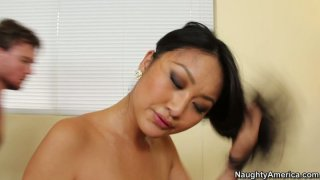 Pocahontas alike Evelyn Lin rides the cock stretching her tight pussy Preview Image